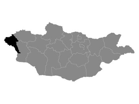 Black Location Map of the Mongolian Province of Bayan-Olgiy within Grey Map of Mongolia