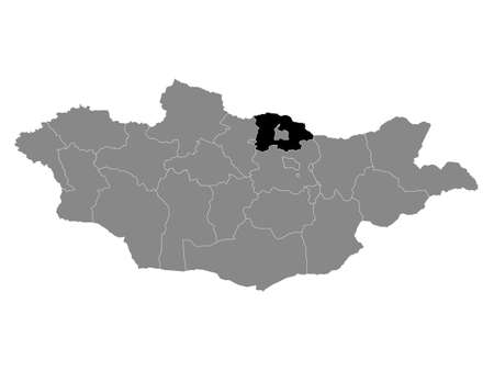 Black Location Map of the Mongolian Province of Selenge within Grey Map of Mongolia