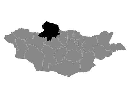 Black Location Map of the Mongolian Province of Khövsgöl within Grey Map of Mongolia