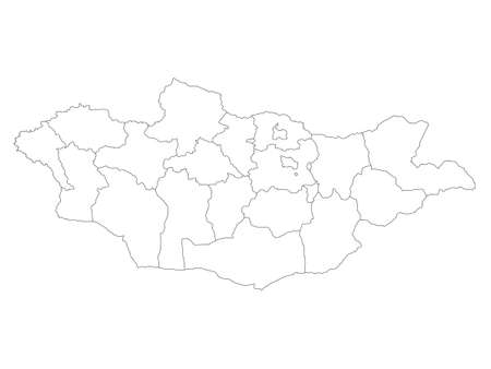White Flat Provinces Map of Asian Country of Mongolia