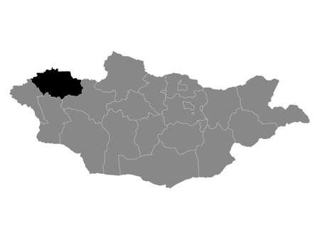 Black Location Map of the Mongolian Province of Uvs within Grey Map of Mongolia