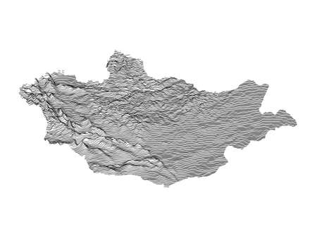 Black and White 3D Contour Topography Map of Asian Country of Mongolia 向量圖像