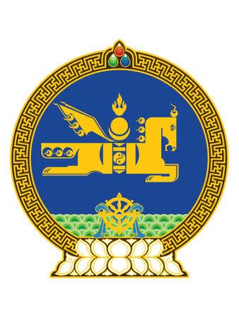 Flat Vector Illustration of the National State Emblem of Mongolia Stock Illustratie