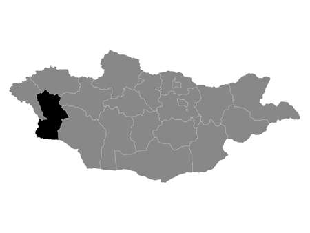 Black Location Map of the Mongolian Province of Khovd within Grey Map of Mongolia
