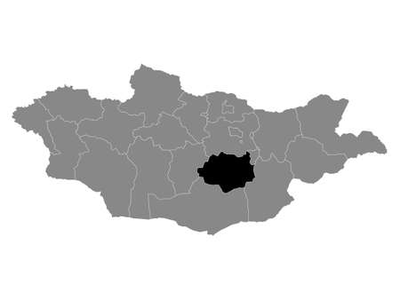 Black Location Map of the Mongolian Province of Dundgovi within Grey Map of Mongolia 向量圖像