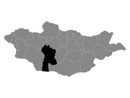 Black Location Map of the Mongolian Province of Bayankhongor within Grey Map of Mongolia
