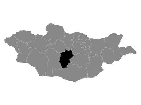 Black Location Map of the Mongolian Province of Övörkhangai within Grey Map of Mongolia