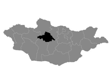 Black Location Map of the Mongolian Province of Arkhangai within Grey Map of Mongolia Standard-Bild - 153024005