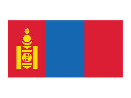 Flat Vector Illustration of the National Flag of Mongolia
