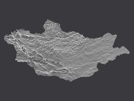 Dark Black and White 3D Contour Topography Map of Asian Country of Mongolia