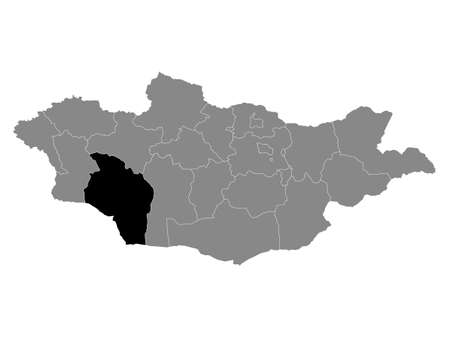 Black Location Map of the Mongolian Province of Govi-Altai within Grey Map of Mongolia
