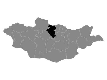 Black Location Map of the Mongolian Province of Bulgan within Grey Map of Mongolia