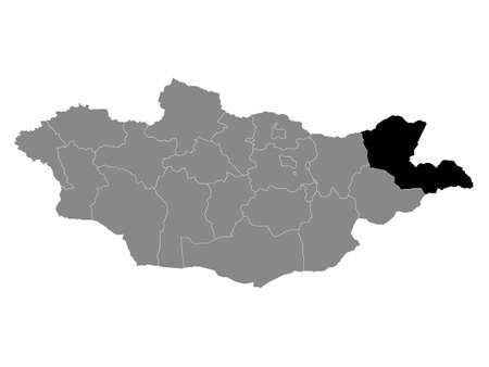 Black Location Map of the Mongolian Province of Dornod within Grey Map of Mongolia 向量圖像