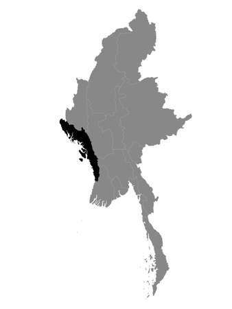 Black Location Map of the Myanmar/Burmese State of Rakhine within Grey Map of Myanmar