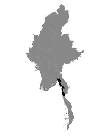 Black Location Map of the Myanmar/Burmese State of Mon within Grey Map of Myanmar