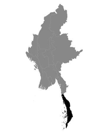 Black Location Map of the Myanmar/Burmese Region of Tanintharyi within Grey Map of Myanmar