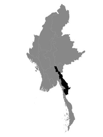 Black Location Map of the Myanmar/Burmese State of Kayin within Grey Map of Myanmar
