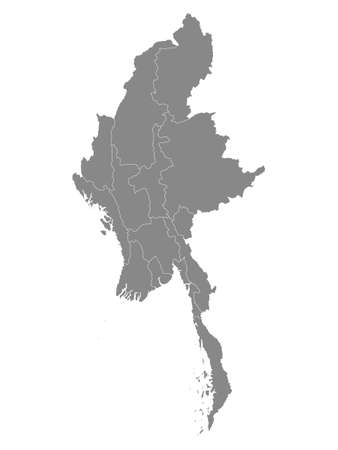 Grey Flat Provinces Map of Asian Country of Myanmar Standard-Bild - 153200687