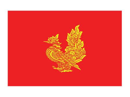 Vector Illustration of the Flag of Myanmar/Burmese State of Mon