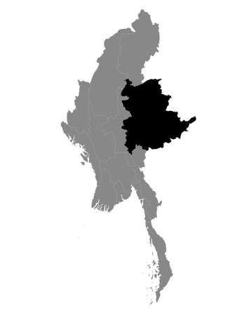 Black Location Map of the Myanmar/Burmese State of Shan within Grey Map of Myanmar