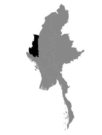 Black Location Map of the Myanmar/Burmese State of Chin within Grey Map of Myanmar