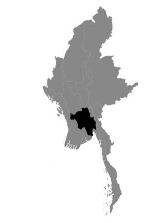 Black Location Map of the Myanmar/Burmese Region of Bago within Grey Map of Myanmar 向量圖像