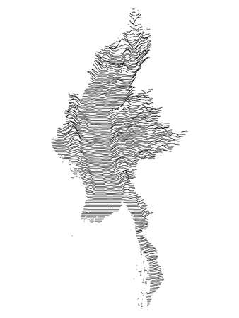 Black and White 3D Contour Topography Map of Asian Country of Myanmar
