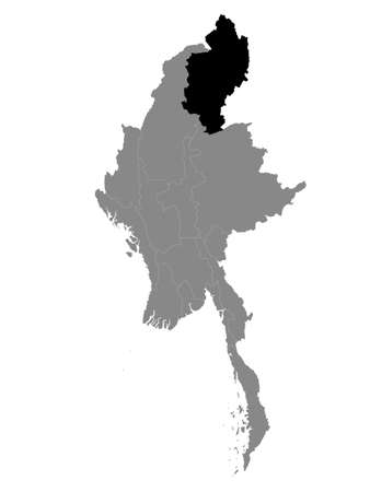 Black Location Map of the Myanmar/Burmese State of Kachin within Grey Map of Myanmar