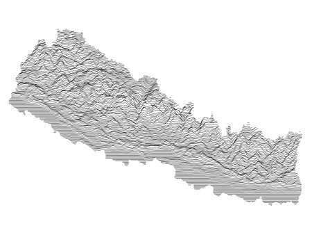 Black and White 3D Contour Topography Map of Asian Country of Nepal