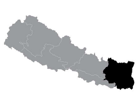 Black Location Map of the Nepali Province No. 1 within Grey Map of Nepal 向量圖像
