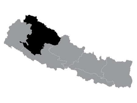 Black Location Map of the Nepali Province of Karnali Pradesh within Grey Map of Nepal