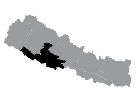 Black Location Map of the Nepali Province No. 5 within Grey Map of Nepal 向量圖像