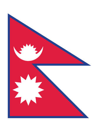 Flat Vector Illustration of the National Flag of Nepal