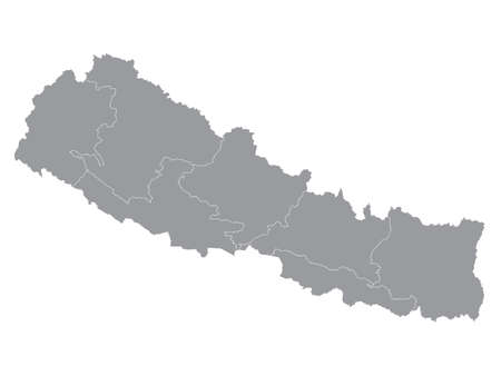 Grey Flat Provinces Map of Asian Country of Nepal