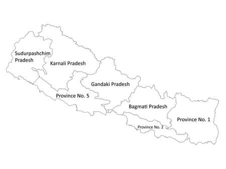White Labeled Flat Provinces Map of Asian Country of Nepal 向量圖像