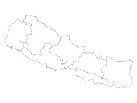 White Flat Provinces Map of Asian Country of Nepal