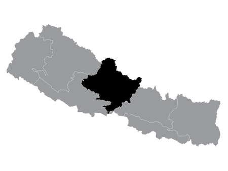 Black Location Map of the Nepali Province of Gandaki Pradesh within Grey Map of Nepal