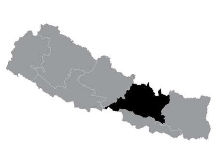 Black Location Map of the Nepali Province of Bagmati Pradesh within Grey Map of Nepal