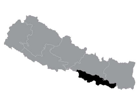 Black Location Map of the Nepali Province No. 2 within Grey Map of Nepal 向量圖像