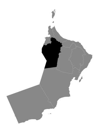 Black Location Map of the Omani Governorate of Ad Dhahirah within Grey Map of Oman