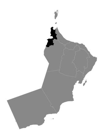 Black Location Map of the Omani Governorate of Al Buraimi within Grey Map of Oman 向量圖像