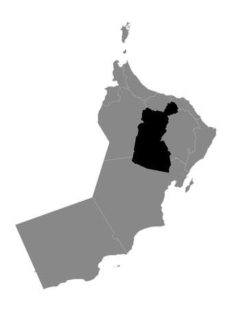 Black Location Map of the Omani Governorate of Ad Dakhiliyah within Grey Map of Oman