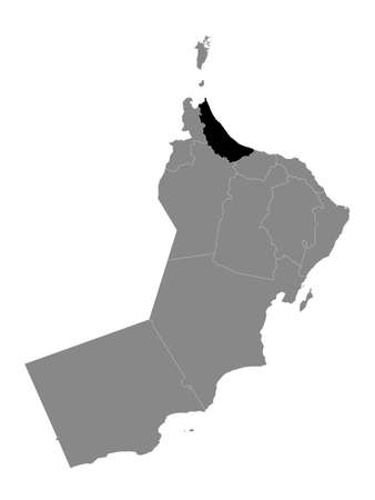 Black Location Map of the Omani Governorate of Al Batinah North within Grey Map of Oman Иллюстрация