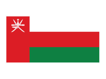 Flat Vector Illustration of the National Flag of Oman