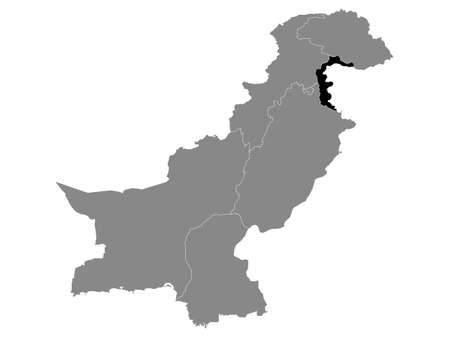 Black Location Map of the Pakistani Region of Azad Kashmir within Grey Map of Pakistan
