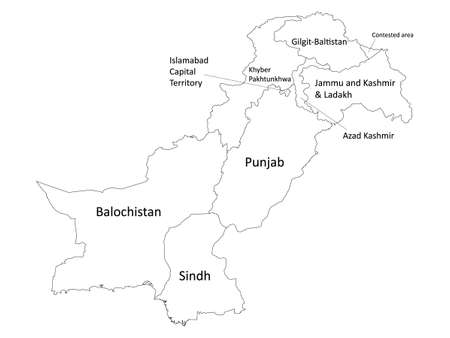 White Labeled Flat Provinces and Regions Map of Asian Country of Pakistan (incl. Kashmir)