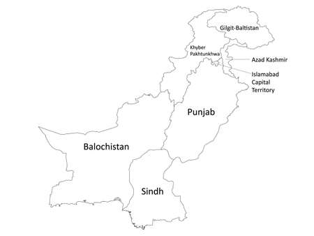 White Labeled Flat Provinces and Regions Map of Asian Country of Pakistan Ilustração