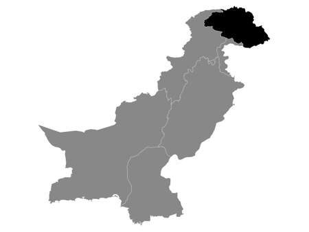 Black Location Map of the Pakistani Region of Gilgit-Baltistan within Grey Map of Pakistan