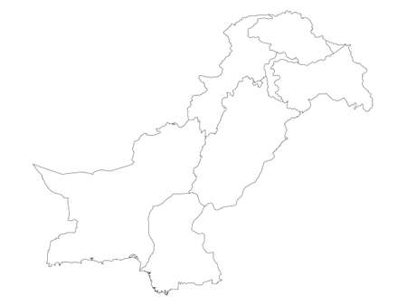 White Flat Provinces and Regions Map of Asian Country of Pakistan (incl. Kashmir) Ilustração