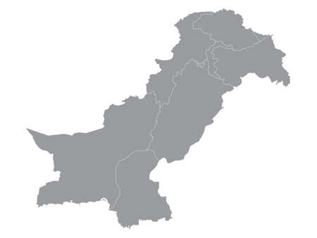 Grey Flat Provinces and Regions Map of Asian Country of Pakistan (incl. Kashmir)